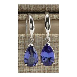 3.88 CTW Natural Tanzanite Earrings In 14K Solid White Gold