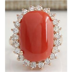 10.18 CTW Natural Red Coral And Diamond Ring 14K Solid Rose Gold