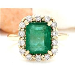 4.50 CTW Natural Emerald 18K Solid Yellow Gold Diamond Ring