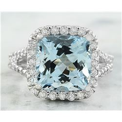 5.85 CTW Aquamarine 18K White Gold Diamond Ring