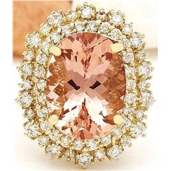 11.25 CTW Natural Morganite 18K Solid Yellow Gold Diamond Ring