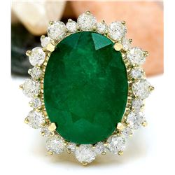 18.59 CTW Natural Emerald 14K Solid Yellow Gold Diamond Ring