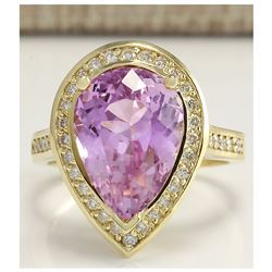 8.71 CTW Natural Pink Kunzite And Diamond Ring In 14K Yellow Gold