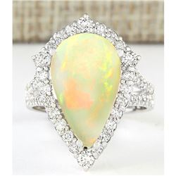 6.04 CTW Natural Opal And Diamond Ring In 18K White Gold
