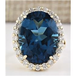 21.20 CTW Natural London Blue Topaz And Diamond Ring In 14k Yellow Gold