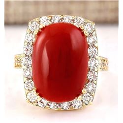 11.78 CTW Natural Coral And Diamond Ring In 18K Yellow Gold