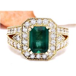 3.50 CTW Natural Emerald 14K Solid Yellow Gold Diamond Ring