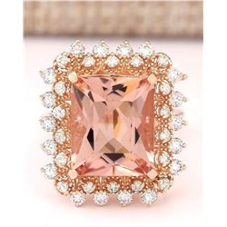 7.92 CTW Natural Morganite And Diamond Ring In 18K Rose Gold