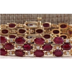 38.13 CTW Natural Ruby And Dimond Bracelet In 14k Solid Yellow Gold