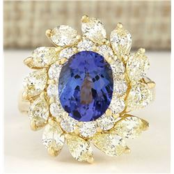 5.73 CTW Natural Tanzanite And Diamond Ring In 18K Yellow Gold