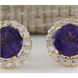 3.65 CTW Natural Amethyst And Diamond Earrings 14K Solid Yellow Gold