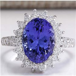 5.08 CTW Natural Blue Tanzanite And Diamond Ring In 18K White Gold
