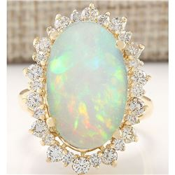 7.31 CTW Natural Opal And Diamond Ring In 18K Yellow Gold