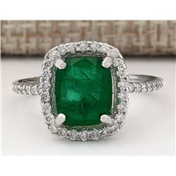 3.21 CTW Natural Emerald And Diamond Ring In 18K White Gold