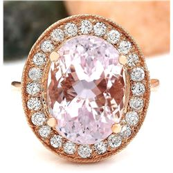10.57 CTW Natural Kunzite 18K Solid Rose Gold Diamond Ring