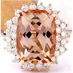 9.38 CTW Natural Morganite 18K Solid Rose Gold Diamond Ring