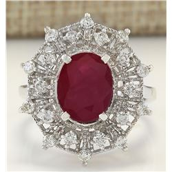 3.87 CTW Natural Ruby And Diamond Ring In 18K White Gold