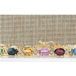 13.57 CTW Natural Sapphire And Diamond Bracelet In 14K Yellow Gold