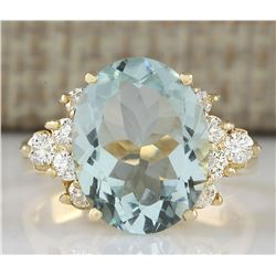 4.75 CTW Natural Aquamarine And Diamond Ring In 18K Yellow Gold