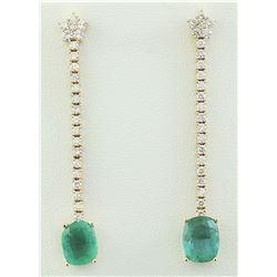 4.75 CTW Emerald 18K Yellow Gold Diamond Eaarings