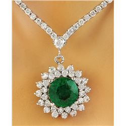 7.55 CTW Emerald 14K White Gold Diamond Necklace
