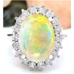 13.10 CTW Natural Opal 14K Solid White Gold Diamond Ring