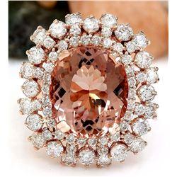 13.36 CTW Natural Morganite 18K Solid Rose Gold Diamond Ring
