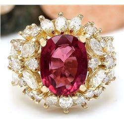 5.43 CTW Natural Rubelite 18K Solid Yellow Gold Diamond Ring
