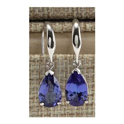 3.88 CTW Natural Tanzanite Earrings In 18K Solid White Gold