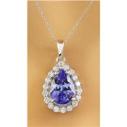 3.46 CTW Tanzanite 18K White Gold Diamond Necklace