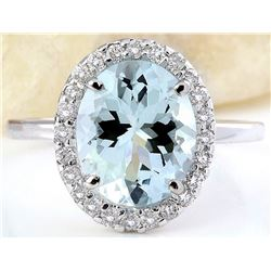 3.55 CTW Natural Aquamarine 18K Solid White Gold Diamond Ring