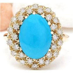 3.88 CTW Natural Turquoise 18K Solid Yellow Gold Diamond Ring