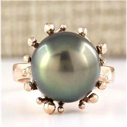 Natural 12.45mm Black Pearl Ring 14k Rose Gold