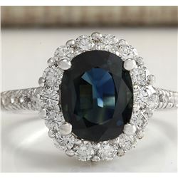 3.68 CTW Natural Blue Sapphire Diamond Ring 18K Solid White Gold