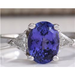 2.55 CTW Natural Blue Tanzanite And Diamond Ring In 14K White Gold