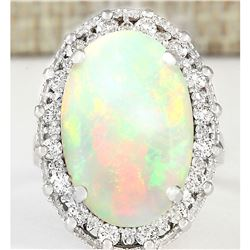 5.54 CTW Natural Opal And Diamond Ring In 18K White Gold
