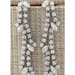 4.00 CTW Natural Diamond Earrings 18K Solid White Gold