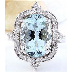 7.48 CTW Natural Aquamarine 18K Solid White Gold Diamond Ring