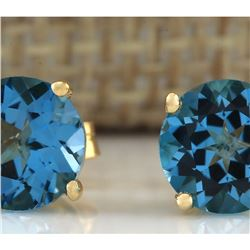 3.00 CTW Natural Blue Topaz Earrings 18K Solid Yellow Gold