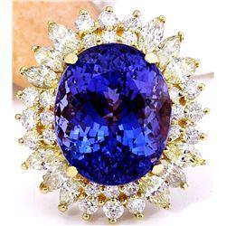 18.15 CTW Natural Tanzanite 14K Solid Yellow Gold Diamond Ring