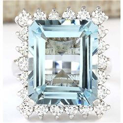 12.71 CTW Natural Aquamarine And Diamond Ring In 18K Solid White Gold