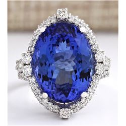 16.80 CTW Natural Blue Tanzanite And Diamond Ring 18K Solid White Gold