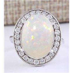 6.45 CTW Natural Opal And Diamond Ring In 18K White Gold