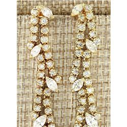 4.00 CTW Natural Diamond Earrings 18K Solid Yellow Gold
