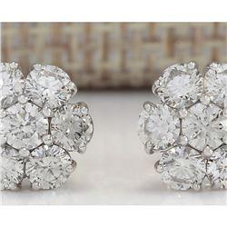 2.00 CTW Natural Diamond Earrings 14k Solid White Gold