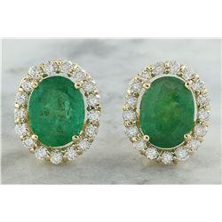 4.70 CTW Emerald 18K Yellow Gold Diamond Earrings