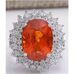 12.01 CTW Natural Mandarin Garnet And Diamond Ring 18K Solid White Gold