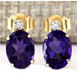 2.55 CTW Natural Amethyst And Diamond Earrings 18K Solid Yellow Gold