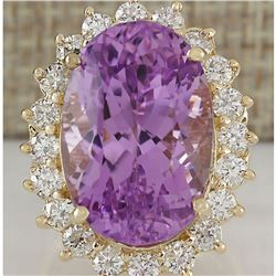 26.27 CTW Natural Kunzite And Diamond Ring In 18K Yellow Gold