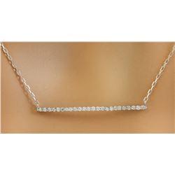 0.25 CTW Diamond 18K White Gold Bar Necklace